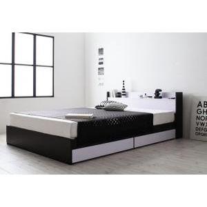 ■5.5倍ポイント■モノトーンモダンデザイン 棚・コンセント付き収納ベッド MONO-BED モノ・ベッド スタンダードボンネルコイルマットレス付き ダブル[L][00]