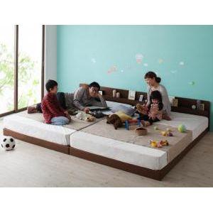 親子で寝られる棚・コンセント付き安全連結ベッド Familiebe ファミリーベ 国産ポケットコイルマットレス付き ワイドK240(S+D)[4D][00]