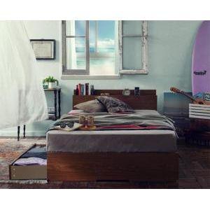 ■5.5倍ポイント■棚・コンセント付き収納ベッド Arcadia アーケディア プレミアムポケットコイルマットレス付き 床板仕様 シングル[00]
