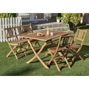 ■4.5倍ポイント■ベンチのサイズが選べる アカシア天然木ガーデンファニチャー Efica エフィカ 4点セット(テーブル+チェア2脚+ベンチ1脚) ベンチ2Pタイプ W120[4D][00]