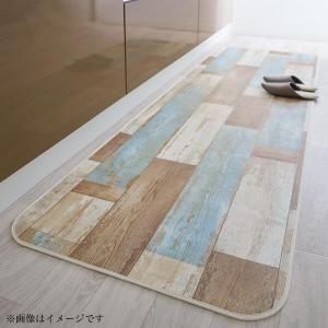 ■4.5倍ポイント■拭ける・はっ水 古木風ダイニングラグ Floldy フロルディー キッチンマット 80×210cm[4D][00]