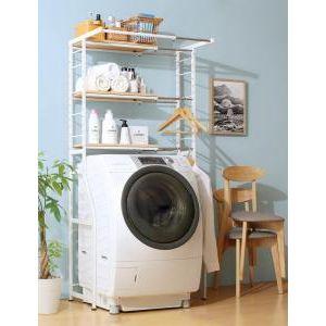 ■4.5倍ポイント■伸縮機能付き 洗濯機上のスペースが有効活用できる ナチュラルランドリーラック Mone モネ[1D][00]