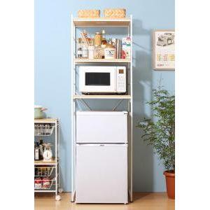 ■5倍ポイント■冷蔵庫上のスペースを有効活用できる インテリアキッチンラック Prague プラハ[1D][00]
