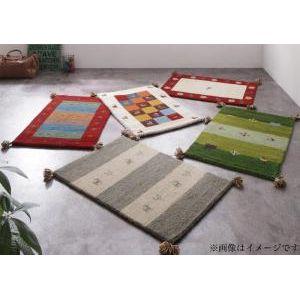 ■4.5倍ポイント■ウール100%インド製手織りギャッベラグ・マット GABELIA ギャベリア 60×90cm[4D][00]