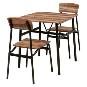 丸みのある天板が特徴的な コンパクトなダイニング3点セット 2人掛け 二人掛け 2人用 驚きの値段で おしゃれ スチール アイアン 木目調 食卓テーブル ダイニングセット 卸直営 ブラウン ポイント4.5倍 LDS-4893BR チェア 家具 セット テーブル 23