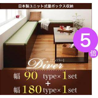 ■5倍ポイント■日本製ユニット式畳ボックス収納【Diver】ディバー 幅90タイプ(1体)+幅180タイプ(1体)セット 【代引不可】[1D][00]