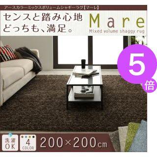 ■5倍ポイント■アースカラーミックスボリュームシャギーラグ【Mare】マーレ 200×200cm 【代引不可】[1D][00]