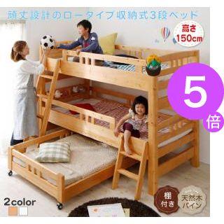 ■5倍ポイント■頑丈設計のロータイプ収納式3段ベッド【triperro】トリペロ[1D][00]
