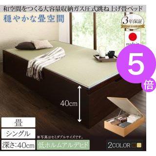 ■5倍ポイント■くつろぎの和空間をつくる日本製大容量収納ガス圧式跳ね上げ畳ベッド 涼香 リョウカ シングル 深さラージ[4D][00]