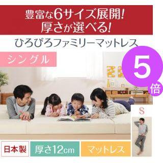 ■5倍ポイント■豊富な6サイズ展開 厚さが選べる 寝心地も満足なひろびろファミリーマットレス シングル 厚さ12cm[4D][00]