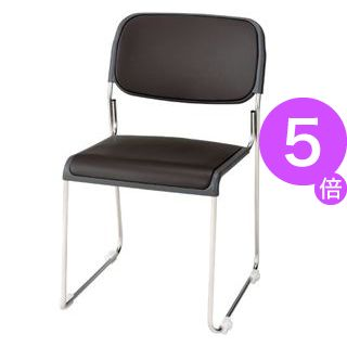 ■5倍ポイント■ジョインテックス 会議椅子(スタッキングチェア/ミーティングチェア) 肘なし 座面:合成皮革(合皮) FRK-S2LN BR ブラウン 【完成品】[21]