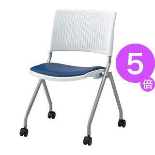 ■5倍ポイント■ジョインテックス 会議椅子(スタッキングチェア/ミーティングチェア) 肘なし 座面:合成皮革(合皮) キャスター付き FJC-K6L NV 【完成品】[21]