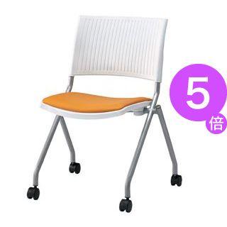 ■5倍ポイント■ジョインテックス 会議椅子(スタッキングチェア/ミーティングチェア) 肘なし 座面:合成皮革(合皮) キャスター付き FJC-K6L OR 【完成品】[21]