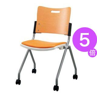 ■5倍ポイント■ジョインテックス 会議椅子(スタッキングチェア/ミーティングチェア) 肘なし 座面:合成皮革(合皮) キャスター付き FJC-K8L OR 【完成品】[21]
