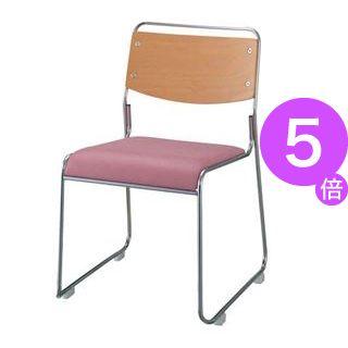 ■5倍ポイント■ジョインテックス 会議椅子(スタッキングチェア/ミーティングチェア) 肘なし 座面:合成皮革(合皮) FSN-7L ピンク 【完成品】[21]