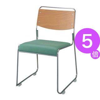 ■5倍ポイント■ジョインテックス 会議椅子(スタッキングチェア/ミーティングチェア) 肘なし 座面:合成皮革(合皮) FSN-7L グリーン 【完成品】[21]