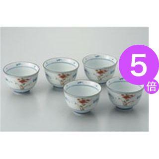 ■5倍ポイント■(業務用20セット) ピーアンドエス 染赤絵煎茶碗 5客揃/10301[21]