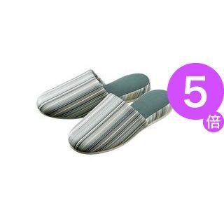 ■5倍ポイント■(業務用30セット) オーミケンシ レザー調ストライプ柄スリッパ 5502グリー[21]