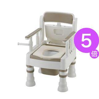 ■5倍ポイント■リッチェル 樹脂製ポータブルトイレ ポータブルトイレきらくミニでか(3)MY型アイボリー 45611[21]