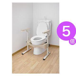 ■5倍ポイント■アロン化成 トイレ用手すり 洋式トイレフレームSハネアゲR-2(2)プラスチック製ヒジ掛 533-086[21]