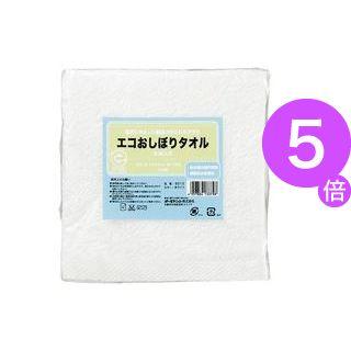 ■5倍ポイント■(業務用30セット) オーミケンシ エコおしぼりタオル5枚セット ホワイト9512[21]