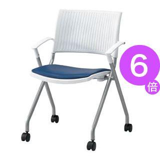■6倍ポイント■ジョインテックス 会議椅子(スタッキングチェア/ミーティングチェア) 肘付き 座面:合成皮革(合皮) キャスター付き FJC-K6AL NV 【完成品】[21]