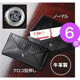 ■6倍ポイント■【日本製】家紋付 本革ふくさ クロコ型押し 4/丸に三つ柏[21]