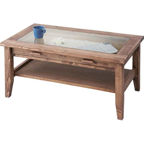 開梱設置が選べる アンティーク風木製リビングテーブル ガラス天板 幅90cm ルーアン