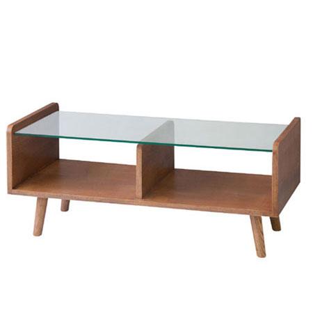 ガラスリビングテーブル フレック 幅90cm
