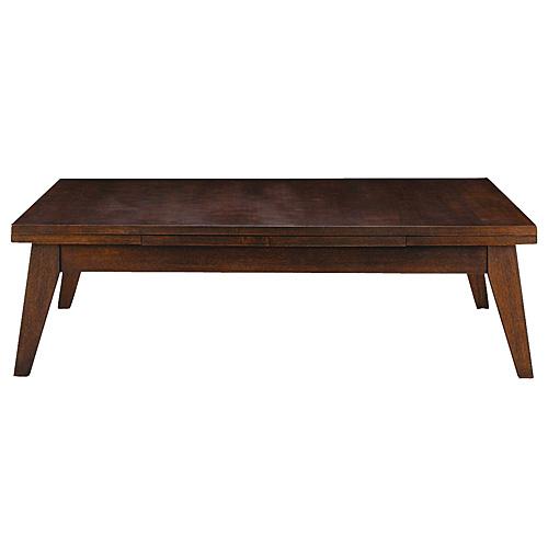 開梱設置が選べる 伸縮木製リビングテーブル 幅120/180cm