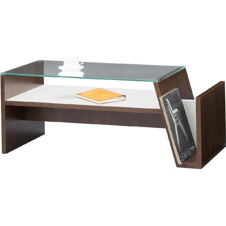 ガラスリビングテーブル 幅90cm ブラウン