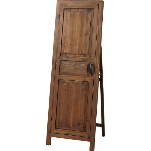 アンティーク風木製スタンドミラー ドア風扉付き
