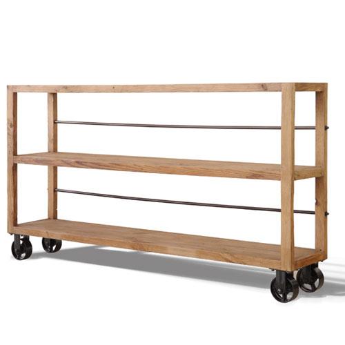 キャスター付き木製オープンラック W 幅180cm高さ100cm ムート ナチュラル ga-mu-sf-w-na