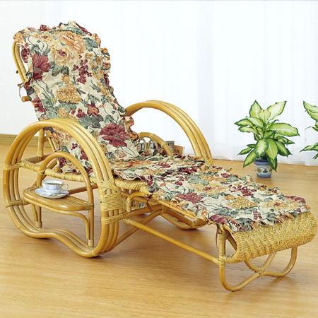 籐三つ折リクライニング寝椅子 カバー付き a200m