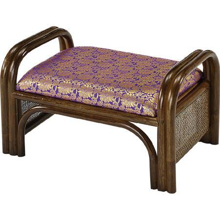 籐正座椅子 ご仏前用金襴 紫 c16