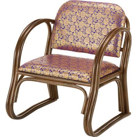 籐座椅子 ご仏前用金襴 紫 s131b