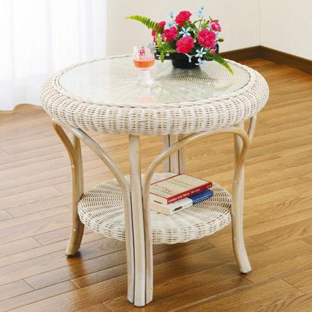 籐丸テーブル 幅60cm ホワイト t130