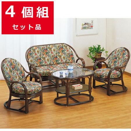 籐リビング4点セット(テーブル+ソファ+アームチェア) y45460b