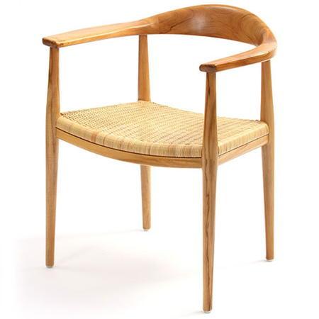 チーク木製ダイニングアームチェア IDENTITY 籐編み込み座面