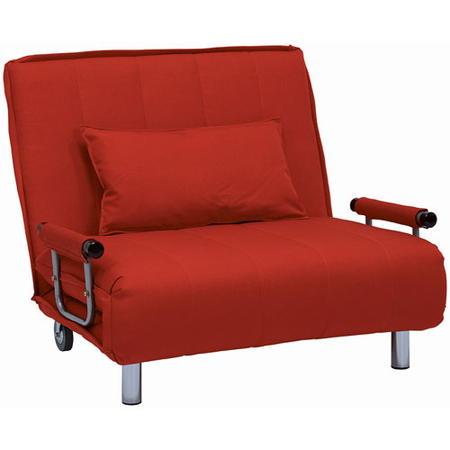 1人掛け折りたたみリクライニングソファベッド 幅101cm 布張 グラーテ レッド