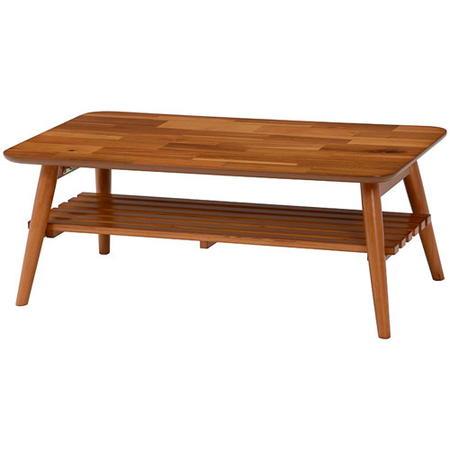 折りたたみリビングテーブル 幅90cm 棚付き スクエア アカシア材