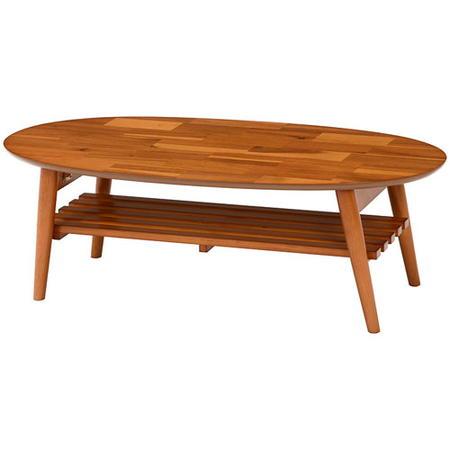 折りたたみリビングテーブル 幅100cm 棚付き オーバル アカシア材