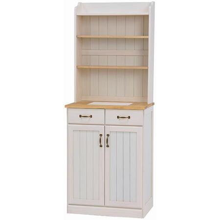 上段シェルフ付きキッチンカウンター キャビネットタイプ 幅59cm高さ155cm ナチュラルアイボリー