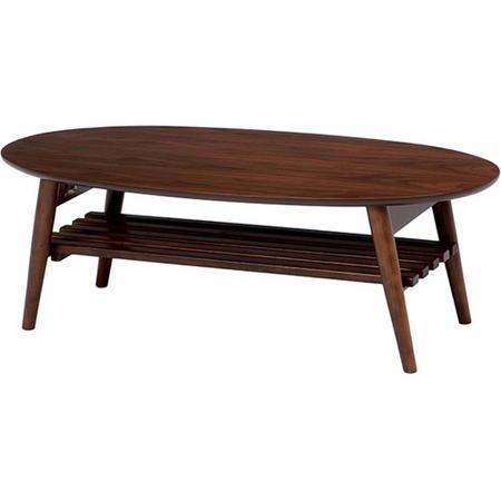 ローテーブル 棚付き テーブル 100 折りたたみリビングテーブル 幅100cm 棚付き オーバル ブラウン MT-6922BR センターテーブル シンプル コーヒーテーブル カフェテーブル リビング テーブル table 1人暮らし つくえ 机 mt-6922br
