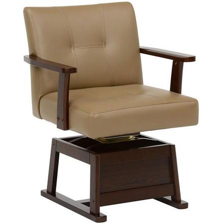 回転 式 チェア キャスター付き ハイタイプこたつ向け回転チェア KC-7589 ダークブラウン KC-7589DBR 回転式チェア こたつチェア コタツチェア ダイニングこたつ用椅子 ダイニングチェアー 木製 家具 インテリア 新生活 kc-7589d-br