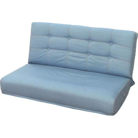 2人掛けリクライニング座椅子 ディーン W 幅107cm デニム調 ライトブルー