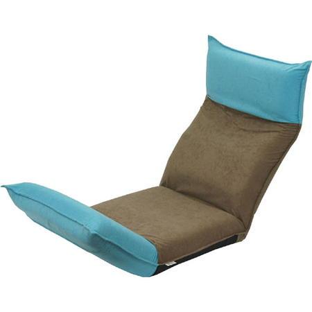 ヘッド&フットリクライニング座椅子 アッシュブラウン×ブルー