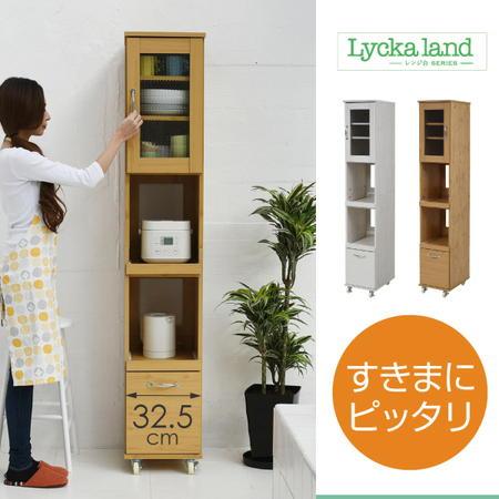 Lycka land スリムッチンラック 幅32.5 H180 隙間タイプ キッチン 収納 すきま収納 キャスター 棚 収納棚 レンジワゴン すき間 キッチン fll-0068