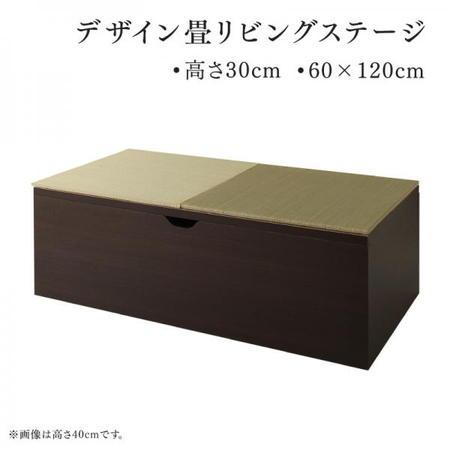 収納付き畳リビングステージ 畳ボックス収納 そよ風 そよかぜ 60×120cm 高さ30 い草 小上がり フレームのみ日本製 フレーム:ダークブラウン/畳:グリーン 500044603