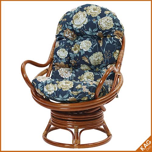 籐回転座椅子 卵型 花柄
